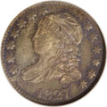 Bust Dimes: , 1827 10C MS64 NGC. JR-13, R.3. This prooflike near-Gem possesses impressively reflective fields, which are originally toned...
