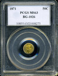 California Fractional Gold: , 1871 50C Liberty Round 50 Cents, BG-1026, Low R.4, MS63 PCGS. PCGSPopulation (4/0). NGC Census: (2/0). (#10855)...