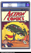 Golden Age (1938-1955):Superhero, Action Comics #1 (DC, 1938) CGC VG+ 4.5 Off-white to white pages. Featuring the introduction of Superman, this book single-h...