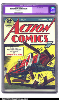 Action Comics #9 (DC, 1939) CGC Apparent VF/NM 9.0 Moderate (P) Off-white to white pages. Here's a clean copy of an earl...