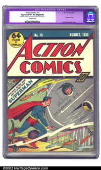 Action Comics #15 (DC, 1939) CGC Apparent VF 8.0 Slight (P) Off-white pages. It was apparent by this issue that Superman...