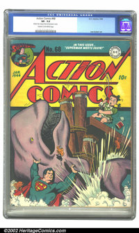 Action Comics #68 (DC, 1944) CGC VF- 7.5 Cream to off-white pages. Little Suzy lands a big fish on this amusing cover wi...