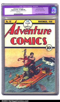 "Adventure Comics #32 (DC, 1938) CGC Apparent FN+ 6.5 Slight (P) Off-white pages. With this seminal issue, ""New""..."