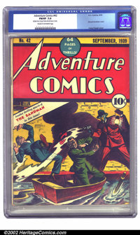 Adventure Comics #42 (DC, 1939) CGC FN/VF 7.0 Cream to off-white pages. This second Sandman cover is greytone, rendered...