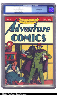 Adventure Comics #44 Larson pedigree (DC, 1939) CGC VF/NM 9.0 Off-white to white pages. Another classic Sandman cover, r...