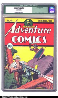 Adventure Comics #45 Larson pedigree (DC, 1939) CGC Qualified VF/NM 9.0 Off-white to white pages. Fred Guardineer render...