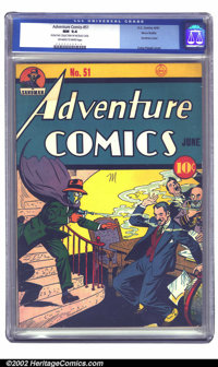Adventure Comics #51 Nova Scotia pedigree (DC, 1940) CGC NM 9.4 Off-white to white pages. Another brilliant example from...