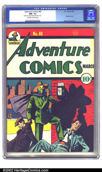 Adventure Comics #60 (DC, 1941) CGC NM- 9.2 Off-white to white pages. Sandman's last cover of the run (at least until hi...