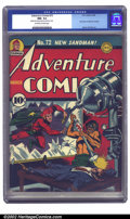 Golden Age (1938-1955):Superhero, Adventure Comics #72 (DC, 1942) CGC NM- 9.2 Off-white to white pages. Burnley's last cover of the run ranks among the best o...
