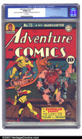 Golden Age (1938-1955):Superhero, Adventure Comics #75 (DC, 1942) CGC VF/NM 9.0 White pages. Sandman and Sandy battle the Villain from Valhalla in this issue,...