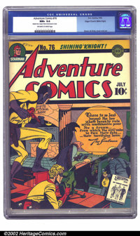 Adventure Comics #76 Mile High pedigree (DC, 1942) CGC NM+ 9.6 Off-white to white pages. Sandman crashes a thieves' part...
