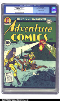 Adventure Comics #77 Mile High pedigree (DC, 1942) CGC NM/MT 9.8 White pages. An absolute killer book that is no doubt t...