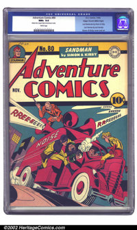Adventure Comics #80 Mile High pedigree (DC, 1942) CGC NM+ 9.6 White pages. Sandman and Sandy take down Noise, Inc. in t...