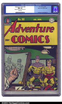 Adventure Comics #90 San Francisco pedigree (DC, 1944) CGC NM- 9.2 White pages. Simon and Kirby take it easy with this i...
