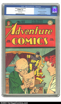 Adventure Comics #102 (DC, 1946) CGC VF/NM 9.0 Off-white pages. Adventure's final large logo issue bids farewell to its...