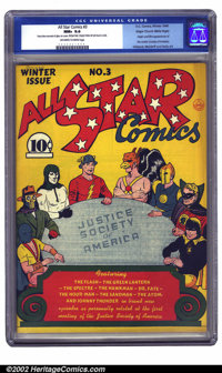 All Star Comics #3 Mile High pedigree (DC, 1940) CGC NM+ 9.6 Off-white to white pages. One of the most influential books...