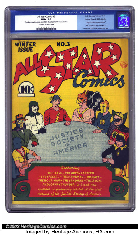All Star Comics #3 Mile High pedigree (DC, 1940) CGC NM+ 9.6 Off-white to white pages. One of the most influential books pub...
