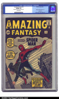Silver Age (1956-1969):Superhero, Amazing Fantasy #15 (Marvel, 1962) CGC VG/FN 5.0 Off-white pages. There are very few people out there who won't recognize th...