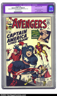 The Avengers #4 (Marvel, 1964) CGC Apparent NM 9.4 Cream to off-white pages. One of the most popular books of the '60s...