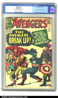 The Avengers #10 (Marvel, 1964) CGC VG/FN 5.0 Cream to off-white pages. The Avengers break up in this issue, and we susp...