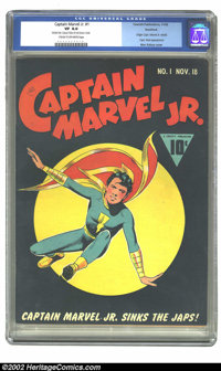 Captain Marvel Jr. #1 Rockford pedigree (Fawcett, 1942) CGC VF 8.0 Cream to off-white pages. Black cover books like this...