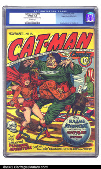 Catman Comics #15 Mile High pedigree (Holyoke Publications, 1942) CGC VF/NM 9.0 Off-white pages. While all Catmans are s...