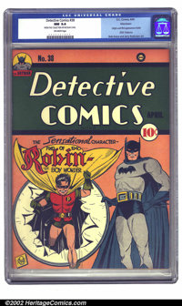 Detective Comics #38 Allentown pedigree (DC, 1940) CGC NM 9.4 Off-white pages. Robin makes his debut with this issue, cr...