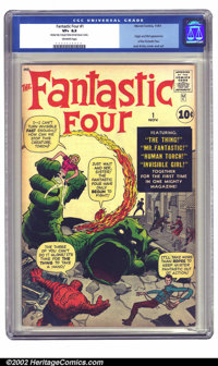 Fantastic Four #1 (Marvel, 1961) CGC VF+ 8.5 Off-white pages. After the Atlas implosion of 1957, it was uncertain whethe...