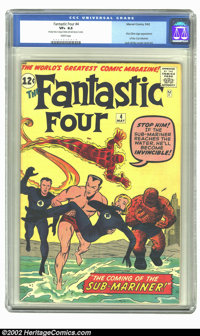 Fantastic Four #4 (Marvel, 1962) CGC VF+ 8.5 White pages. The Sub-Mariner makes his Silver Age debut this issue, as he k...