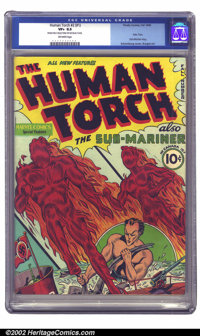 Human Torch Comics #1 (Timely, 1940) CGC VF+ 8.5 Off-white pages. Torch and Toro flame on for their introductory issue...