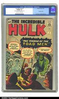 Silver Age (1956-1969):Superhero, The Incredible Hulk #2 (Marvel, 1962) CGC VF/NM 9.0 Off-white towhite pages. Hulk does what he does best on this cover, sma...