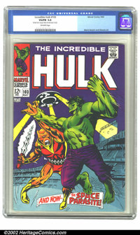 The Incredible Hulk #103 (Marvel, 1968) CGC VG/FN 5.0 Off-white pages. Hulk tangles with the Space Parasite in this issu...