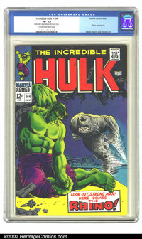 The Incredible Hulk #104 (Marvel, 1968) CGC VF- 7.5 Cream to off-white pages. Look out, strong man! Here comes the Rhino...