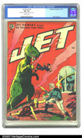 Golden Age (1938-1955):Science Fiction, Jet Powers #2 (Magazine Enterprises, 1951) CGC FN+ 6.5 Off-whitepages. Bathed in red, this cover depicts a hungry dinosaur ...
