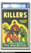 """Golden Age (1938-1955):Adventure, Killers #1 (Magazine Enterprises, 1947) CGC VF- 7.5 Cream to off-white pages. """"They Broke the Ancient Law: Thou Shalt Not Ki..."""