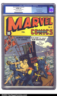 Marvel Mystery Comics #4 (Timely, 1940) CGC VF/NM 9.0 Off-white to white pages. Featuring the first Sub-Mariner cover ap...