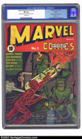 Golden Age (1938-1955):Superhero, Marvel Mystery Comics #5 Larson pedigree (Timely, 1940) CGC VF 8.0 White pages. The Human Torch blazes to the rescue on this...