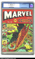 Golden Age (1938-1955):Superhero, Marvel Mystery Comics #16 (Timely, 1941) CGC NM- 9.2 Off-white pages. Aiding an Allied bombing run, the Torch helps pound a ...