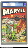 Golden Age (1938-1955):Superhero, Marvel Mystery Comics #18 Recil Macon pedigree (Timely, 1941) CGC NM- 9.2 Off-white pages. Schomburg's covers just keep gett...