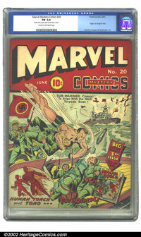 Marvel Mystery Comics #20 (Timely, 1941) CGC FN 6.0 Cream to off-white pages. Subby pounds the stuffing out of some Nazi...
