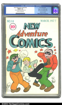 New Adventure Comics #14 Mile High pedigree (DC, 1937) CGC FN/VF 7.0 Off-white to white pages. Empowered by his G-man ba...