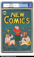 Golden Age (1938-1955):Humor, New Comics #9 (DC, 1936) CGC FN/VF 7.0 Cream to off-white pages. The early stages of evolution of DC's logo style can be see...