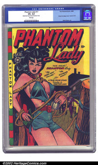 Phantom Lady #17 (Fox, 1948) CGC VF+ 8.5 Pink pages. This classic Matt Baker bondage cover is on everybody's want list...