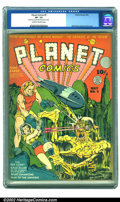 Golden Age (1938-1955):Science Fiction, Planet Comics #5 (Fiction House, 1940) CGC VF- 7.5 Cream tooff-white pages. On this Eisner/Fine cover, Flint and his girlfr...