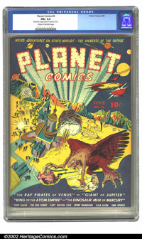 Planet Comics #6 (Fiction House, 1940) CGC FN+ 6.5 Cream to off-white pages. War rages on this fantastic Powell cover, c...
