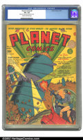 "Golden Age (1938-1955):Science Fiction, Planet Comics #9 (Fiction House, 1940) CGC VF+ 8.5 Cream tooff-white pages. This wild Viscardi cover puts it best--""Flint B..."