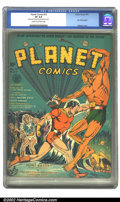 Golden Age (1938-1955):Science Fiction, Planet Comics #12 (Fiction House, 1941) CGC VF 8.0 Cream tooff-white pages. Flint springs into action, socking it to the tw...