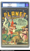 Golden Age (1938-1955):Science Fiction, Planet Comics #14 (Fiction House, 1941) CGC FN 6.0 Off-white pages.Buzz Crandall swings into action on this Zolnerowich cov...