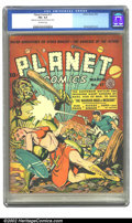 """Golden Age (1938-1955):Science Fiction, Planet Comics #17 (Fiction House, 1942) CGC FN+ 6.5 Off-whitepages. The caption says it all: """"Earthman battles the invading..."""