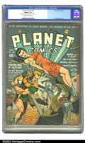 Golden Age (1938-1955):Science Fiction, Planet Comics #18 (Fiction House, 1942) CGC FN/VF 7.0 Cream tooff-white pages. Zolnerowich strikes again, creating a stunni...
